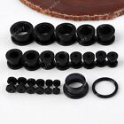 Pair 2-16mm Acrylic Screw Black Flesh Ear Plug Tunnel Expander Stretcher Gauges