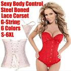 S-6XL Sexy Corset Women Lace Up Boned Body Bustier Waist Cincher Plus Size #001