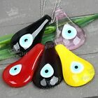 Murano Lampwork Glass Leaf Evil Eye Bead Pendant Fit Chain Necklace Jewelry DIY