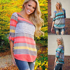 Fashion Women's Ladies Summer Loose Stripe Tops Long Sleeve Shirt Casual Blouse