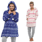 Ladies Hooded Fleece Nightdress Nightie Nightshirt Lounger Loungewear LN395