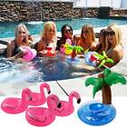 Inflatable Spa Swim Pool Floating Water Drink Holder Coconut Tree & Flamingo x4