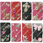 Multi Bling Diamond Crystal PU Leather Wallet Case Stand Card Cover For Phones