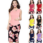 Womens Elegant Vintage Floral Print Frill Party Cocktail Bodycon Dress S-5XL