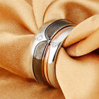 Fashion New Stainless Steel Couple Comfort Wedding Bands Ring Bling Crystals