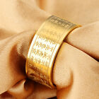 Buddhist jewelry Stainless Steel Gold 19mm wide Cool Men's Ring Band 7-12#