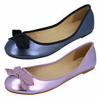 LADIES SPOT ON FLAT SHOES WITH BOW DETAIL (TWO COLOURS) STYLE F8976