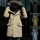 Fashion New Men's Warm Winter Jacket Padded Coat Fur Parka Long Jacket Slim Coat