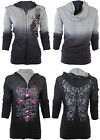 Sinful AFFLICTION Women REVERSIBLE Hoodie Jacket DARK ROMANCE Guns Biker UFC $74