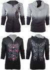 SINFUL by AFFLICTION Women REVERSIBLE Hoodie Jacket DARK ROMANCE Guns Wings $74