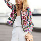 Fashion Women's Slim Casual Summer Floral Long Sleeve Blazer Suit Jacket Coat