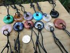 Crystal Gemstone Ring Donut Pendant Cord Necklace Choice Of 8 Different Crystals