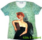 MODIGLIANI Woman w/ Fan Lunia T SHIRT TOP FINE ART PRINT PAINTING PORTRAIT NUDE