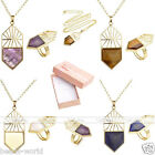 Unique Gold Hollow Shield Charm Gemstones Pendant Necklace Ring Set Jewelry Gift