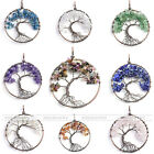 1Pc Charming Gemstone Crystal Tree of Life Gravel Beads Copper Wire Wrap Pendant