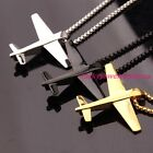 Fashion Mens Women's Silver Gold Black Stainless Steel Airplane Pendant Necklace