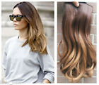 """17"""" Half Head One Piece Dip Dyed Ombre Clip in Hair Extensions Thick"""