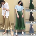 Women fashion gradient wire crimp pendulum long Metal glossy pleated Long skirt