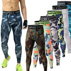 Men's Compression Base Layer Pants Breathable Sports Blue Camo Tights Trousers