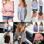 Vogue Women Lady Sexy Off Shoulder Casual Loose Long Sleeve T-Shirt Tops Blouse