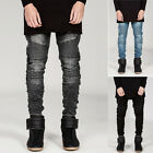 Mens Black/Blue Straight Skinny Slim Fit Biker Ripped Jeans Pants Denim Trousers