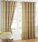 Manhattan Check Tartan Cotton Eyelet Ring Top Lined Curtains, Lime Green