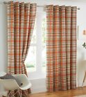 Manhattan Check Tartan Cotton Eyelet Ring Top Lined Curtains, Terracotta Orange