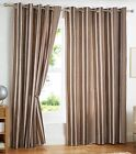 Avenue Vertical Striped Cotton Eyelet Ring Top Lined Curtains, Natural Brown