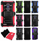 For ZTE ZMAX PRO Hybrid Combo Holster KICKSTAND Rubber Case Phone Cover