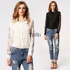 Europe Style Womens Flower Print Neck Chiffon Long Sleeve Blouse T-shirt TXCL