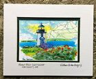 Brant Point Head Lighthouse Art Print Nantucket Island Cape Cod Nautical Ocean