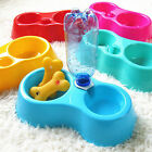 5 Color Pet Dog Puppy Cat Automatic Water Dispenser Food Dish Bowl PlasticFeeder