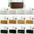Sound Control Wooden USB/AA LED Digital Alarm Desk Clock Calendar Thermometer