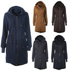 Womens Ladies New Parka Jacket Drawstring Sweatshirt Coat With Hood Size: S-2XL