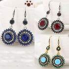 1 Pair New Women Resin Sunflower Crystal Ear Hook Earrings Jewelry Gift