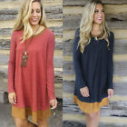 Women Round neck Long Sleeve Shirt Dress Loose Blouse T-shirt Party Tops Dresses