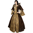 Renaissance Style Dress Handmade from Brocade, Antique Velvet, and Feather Trim