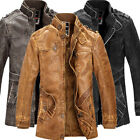 Vintage Mens PU leather Jacket Bomber Trench Coat Parka Motor Outwear Overcoat