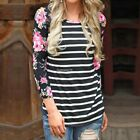 Womens Fashion Floral Print Long Sleeve T-Shirt Casual Loose Striped Blouse Tops