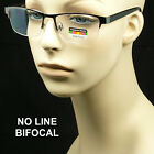 Reading glasses no line progressive clear lens metal half rimless new bifocal