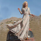 Vintage Boho Style Women Sexy V-Neck Long Prom Dress High Waist Slit Shirt Dress