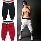 1pc Mens 3/4 knee Jogger Sport Shorts Loose Casual Gym Harem Pants Rope Trousers