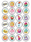 24 x Edible Personalised Shopkins Childrens Icing Rice Paper Cake Topper