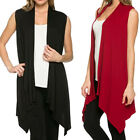 Fashion Women Long Shawl Collar Sleeveless Long Vest Coat Draped Cardigan Tops