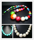 8-18,8-20,6-22MM Beautiful Turquoise Round Beads Necklace 20""