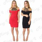 Womens Ladies Off Shoulder Bardot Neck Detail Sleeveless Bodycon Party Dress