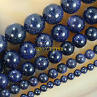 "Natural Blue Sand Stone Round Loose Beads 15"" 6,8,10mm Pick Size ##KH050"