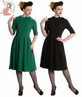 HELL BUNNY MADISON 40s vintage style TEA DRESS BLACK GREEN