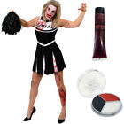 ZOMBIE CHEERLEADER COSTUME AND POM POMS ADULT CHEER LEADER UNIFORM HIGH SCHOOL