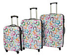 Expandable 4 Wheel Suitcase Hardshell ABS Square Print Spinner Trolley White